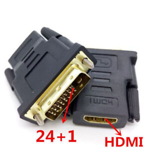 DVI-24-1-25-Pin-Male-to-HDMI-Female-Adapter-Gold-Plated-Converter-For-HDTV-TV-XX