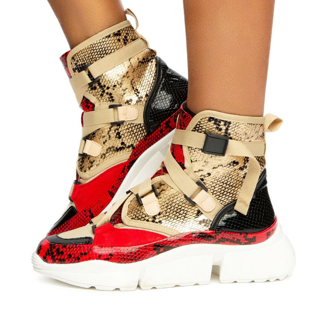Cape Robbin Superstar Leopard High Top Lace Up Platform Fashion Turnschuhe Stiefelie
