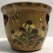 Eldreth Pottery* REDWARE* 2008* Candle Holder*Bees*16313M