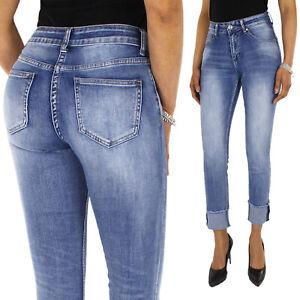 Jeans Donna Denim Pantalone Zampa Skinny Elasticizzato Casual Slim Fit Aderente