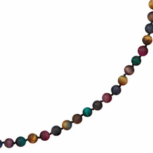 Collier-Edelsteinkette-Tigerauge-bunt-45-cm-Halskette-Kette-Federring