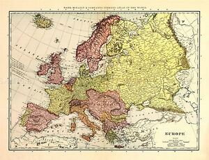 MAP-ANTIQUE-McNALLY-1898-EUROPE-OLD-HISTORIC-LARGE-REPLICA-POSTER-PRINT-PAM1046