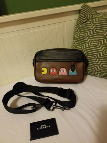 Coach Graham Pac-Man Motif Saddle Leather Crossbod