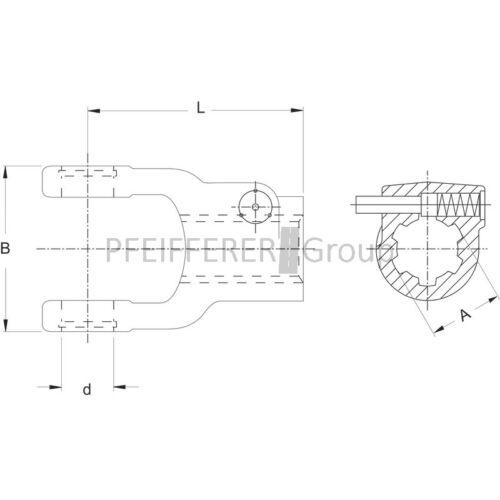 Schiebestift Größe 2200 V-Nr WALTERSCHEID AG Aufsteckgabel m 041049