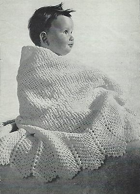 """Babies Crochet Shawl Pattern with beautiful scalloped edge 45"""" square 2ply 751"""