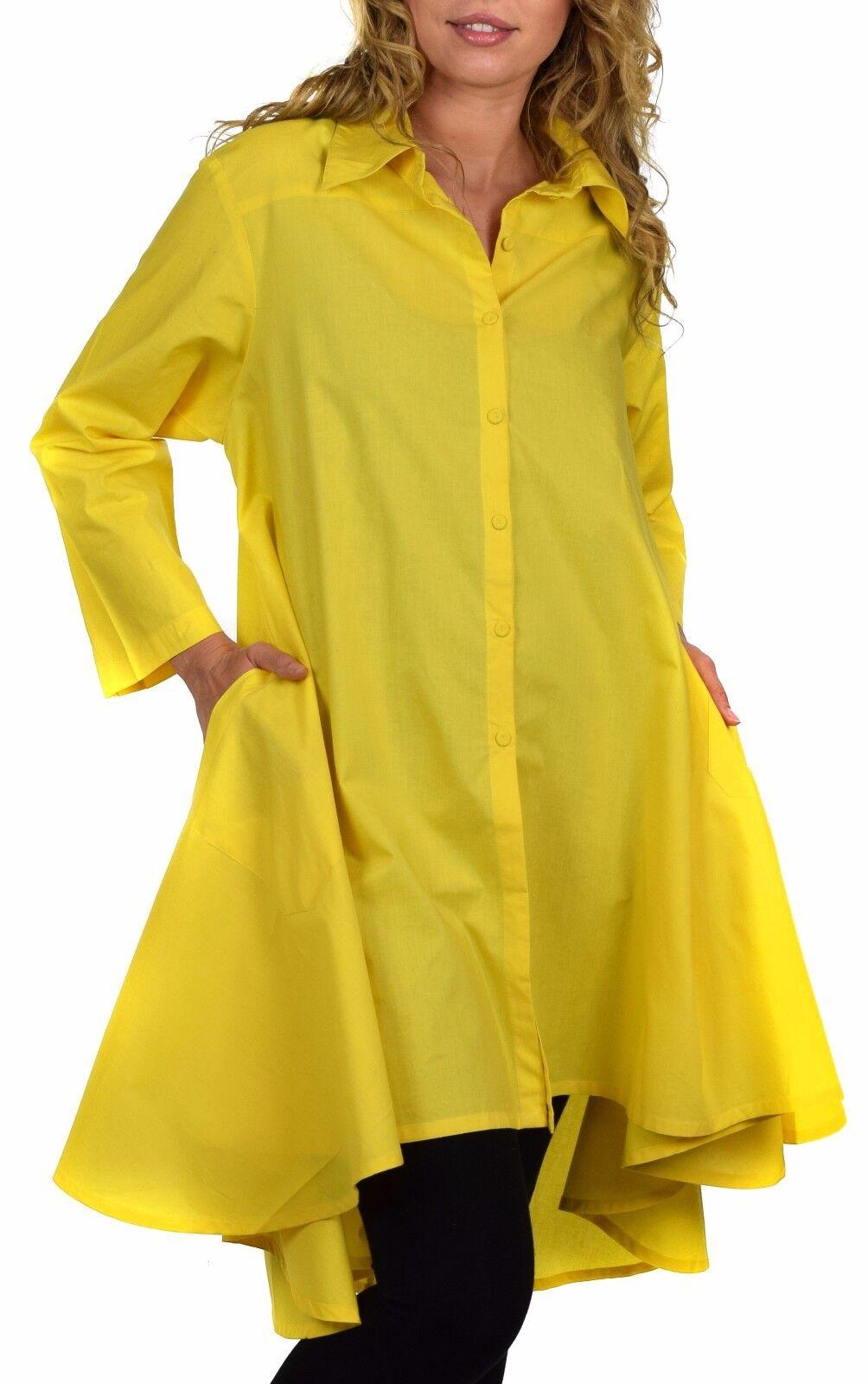 Woherren Hi Low Button Down A Line Swing Dress Shirt Top Reg and Plus Größe Gelb