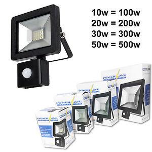 Black-Compact-Slimline-Energy-Saving-Outside-LED-Flood-Light-PIR-Movement-Sensor
