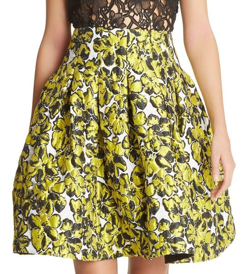 1590 New Oscar de la Renta PRESSED Yellow FLOWERS MATELASSÉ  Full Skirt  0 2 4