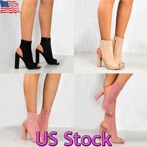 Women Ladies Block Pumps Peep Toe Side Zipper Ankle Boots High Heels...