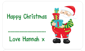 PERSONALISED STICKERS FATHER CHRISTMAS XMAS PRESENT LABEL TAGS PARTY BAG SANTA