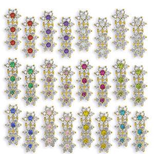 YG-Sterling-Silver-Birthstone-Triple-Flower-Leverback-Earrings-12-Month-Gemstone