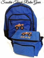 Personalized Monster Truck Backpack & Lunch Box Set Book Bag Royal Red Jam