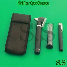 Black LED Light Mini Fiber Optic Pocket Ent Medical Otoscope + Free Penlight