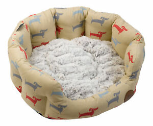 Deli Pattern Oval Pet Bed Grey Faux Fur