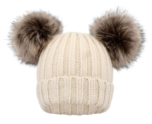 Kids Children Knit Beanie Hat Winter Warm Girls Boys Fleece Double Pom Pom Cap