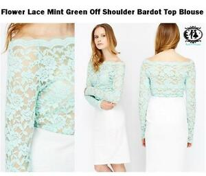 5be500378a20 LADIES FLOWER LACE OFF SHOULDER TOP BLOUSE SIZE 8-10 GREEN BODYCON ...