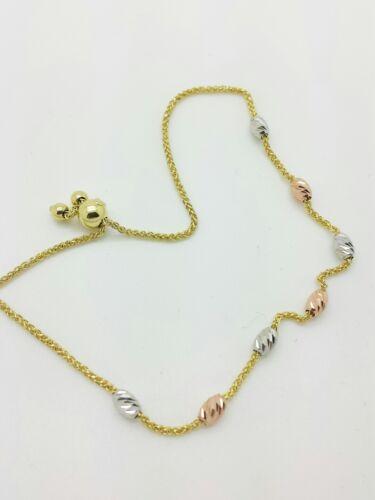 14k Solid Gold Tri Color Diamond Cut Moon Bead Adjustable Wheat Bracelet