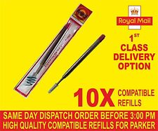QUALITY 10 X PARKER COMPATIBLE BROAD REFILLS FOR BALLPOINT MEDIUM  RED COLOUR