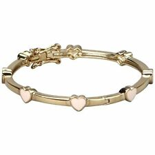 Yellow Gold-Tone Pink Enamel Hearts Baby Girl Bangle Cuff Bracelet 40 mm