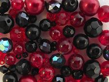 Glass Bead mix / Bracelet Making Kit - Red & Black - Vamp It Up