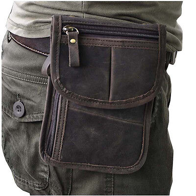 Vintage Men's Genuine Leather Fanny Belt Hip Waist Pack Phone Purse Shoulder Bag
