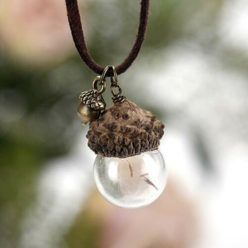 1pc Pineal Gland Shell Dandelion Verre Pendentif Chaîne Collier Charme Jewelry Gift