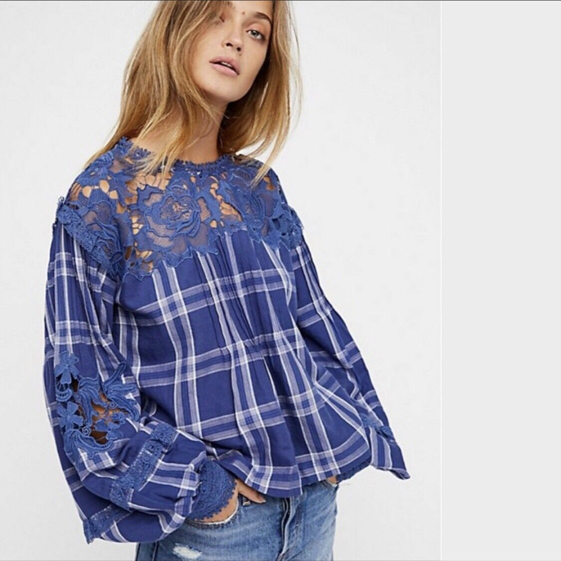 NWT FREE PEOPLE darling Diana Blouse Lace Top Blau Large-L Retail  New FP