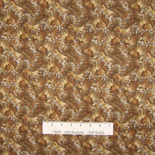 Quilting Treasures YARD Calico Fabric Brown Abstract Leaf Allover