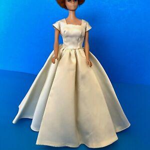 Vintage-1960s-Barbie-Francie-Casey-Twiggy-Satin-WEDDING-DRESS-with-Train-OOAK