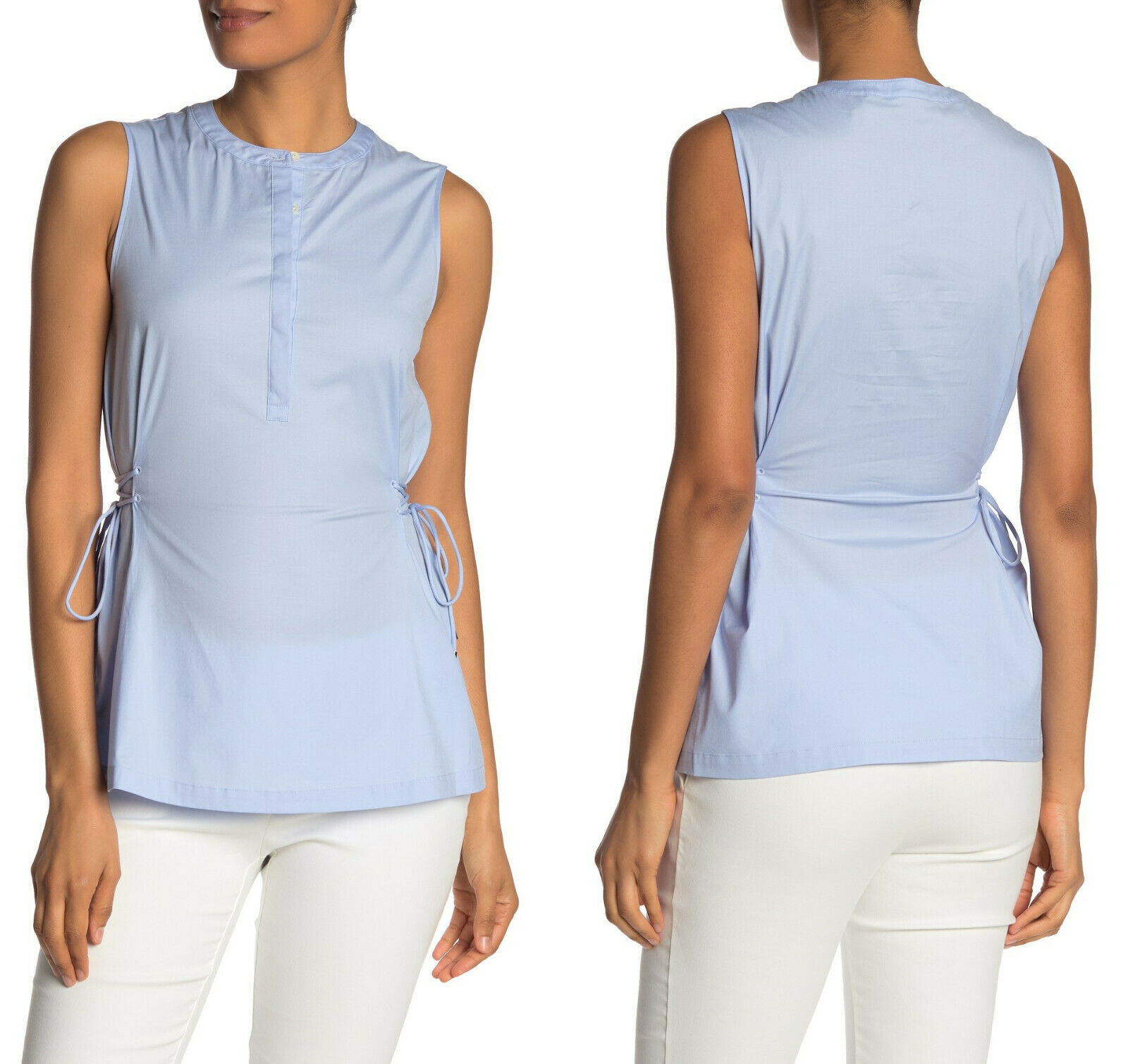 NWT  Theory Cotton Poplin Sleeveless Side Tie Top
