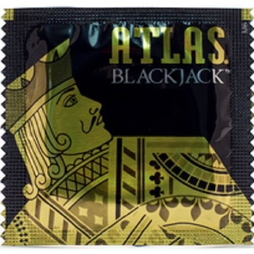 100 Atlas Black Jack Black Colored Condoms