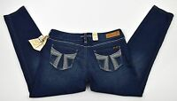 Seven 7 Dark Legging Jeans Stretch White Stitch & Crystals Sz 15 36x30