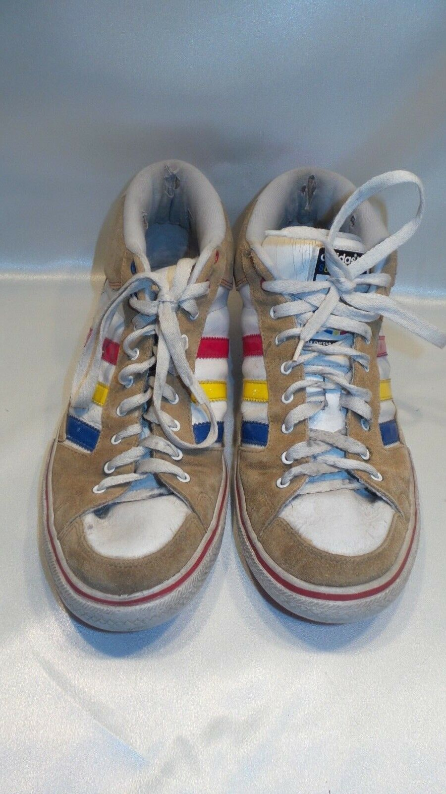 Adidas Shoes Superskate Hightop Athletic Skate Shoes Adidas Size 10-11 Red Yellow Blue 649baa
