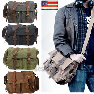 Image is loading Men-Vintage-Style-Canvas-Leather-Satchel-School-Military- 2509deff00