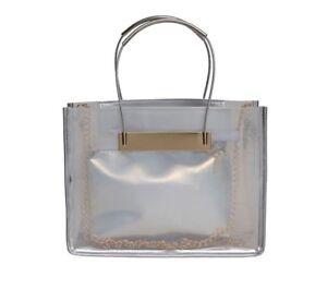Handbag-Tote-Lady-039-s-Transparent-Shoulder-Bag-Jelly-PVC-2-in-1-Bag-amp-Clutch