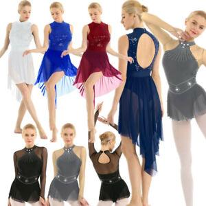Women-Ladies-Lyrical-Dress-Leotard-Ballet-Dance-Gymnastics-Skating-Dress-Costume