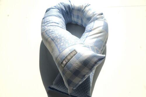 ♥ Bettschlange Bettrolle Lagerungskissen Nestchen  ♥ Hell Blau im Patch Style  ♥