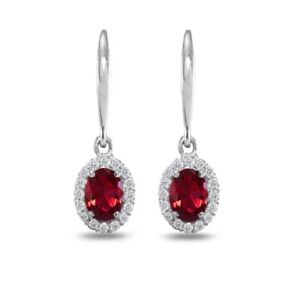 Image Is Loading Oval Halo Created Ruby Amp White Topaz Dangle