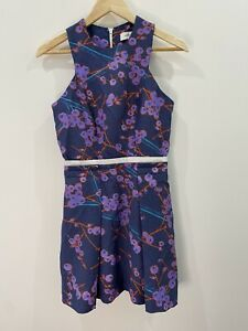Carven-Blueberry-Print-Pleated-Dress-With-Pockets-Size-36-EUC