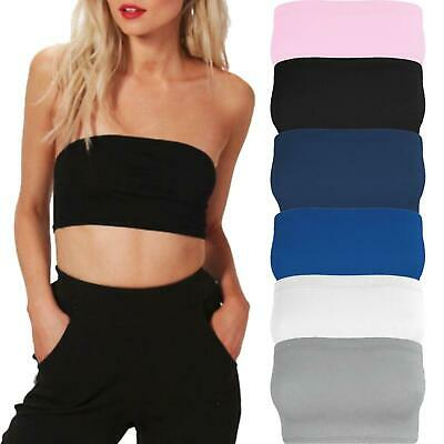 New Womens Ladies Ribbed Boobtube Strapless Bandeau Stretch Vest Bra Cropped Top