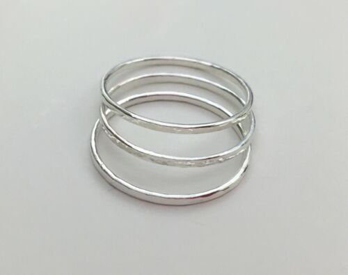 Set of 3 Solid 925 Sterling Silver Stacking Rings sz 5 6 7 8 9 10