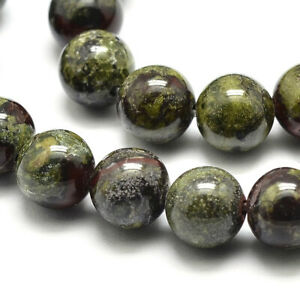 3 Strds Natural Dragon Blood Stone Beads Round Smooth Semi Gems Olive Green 8mm