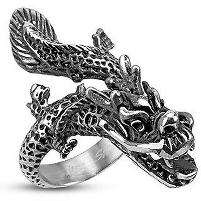 Brand New Stainless Steel Mens Flying Dragon Gothic Wide Cast Ring