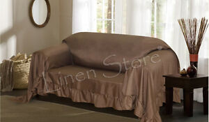 Image Is Loading Venice Furniture Throw Cover Fancy Ruffle Border Slipcover