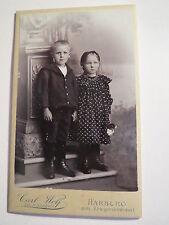 Harburg - in Kulisse stehende 2 Kinder - Mädchen & Junge - Portrait / CDV