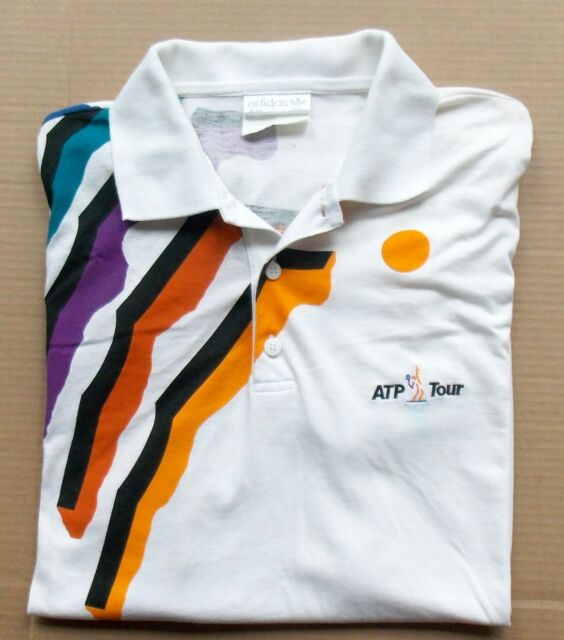 Vintage 1980s ADIDAS ATP TOUR -- Preowned Mens Size Large -- White TENNIS SHIRT
