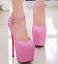 Womens-Platform-Super-High-Heels-Round-Toe-Pumps-Ankle-Buckle-Belt-Bling-Shoes thumbnail 8