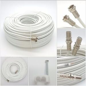 30m White Twin Satellite Shotgun Extension Coax Cable Lead 4 Sky Plus HD Freesat