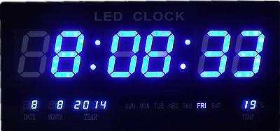 Blau LED digital Wanduhr mit Datum Temperatur Alarm Digitaluhr 36x15.5cm