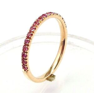 Half-Eternity-Pink-Sapphire-wedding-band-or-stacking-rings-comfort-fit-14K-Gold